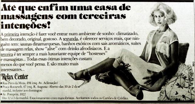 Anúncio de casa de massagens no Jornal da Tarde em 1980