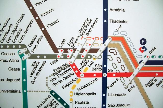 Mapa desatualizado da rede da CPTM na Lapa