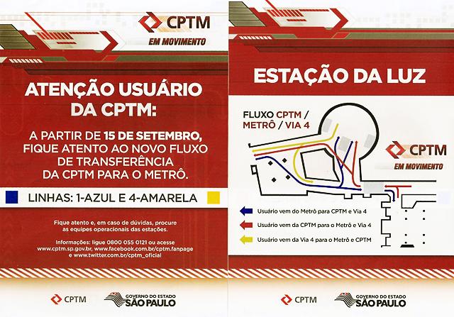 Folheto da CPTM fala da transferência na Estação da Luz