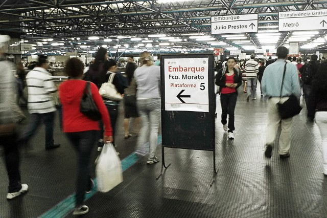 Sinalizacao provisória na Estação Palmeiras-Barra Funda