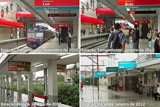 Placas: destino Brás na Linha 10